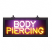 Pink/Amber LED Static Body Piercing LED Sign